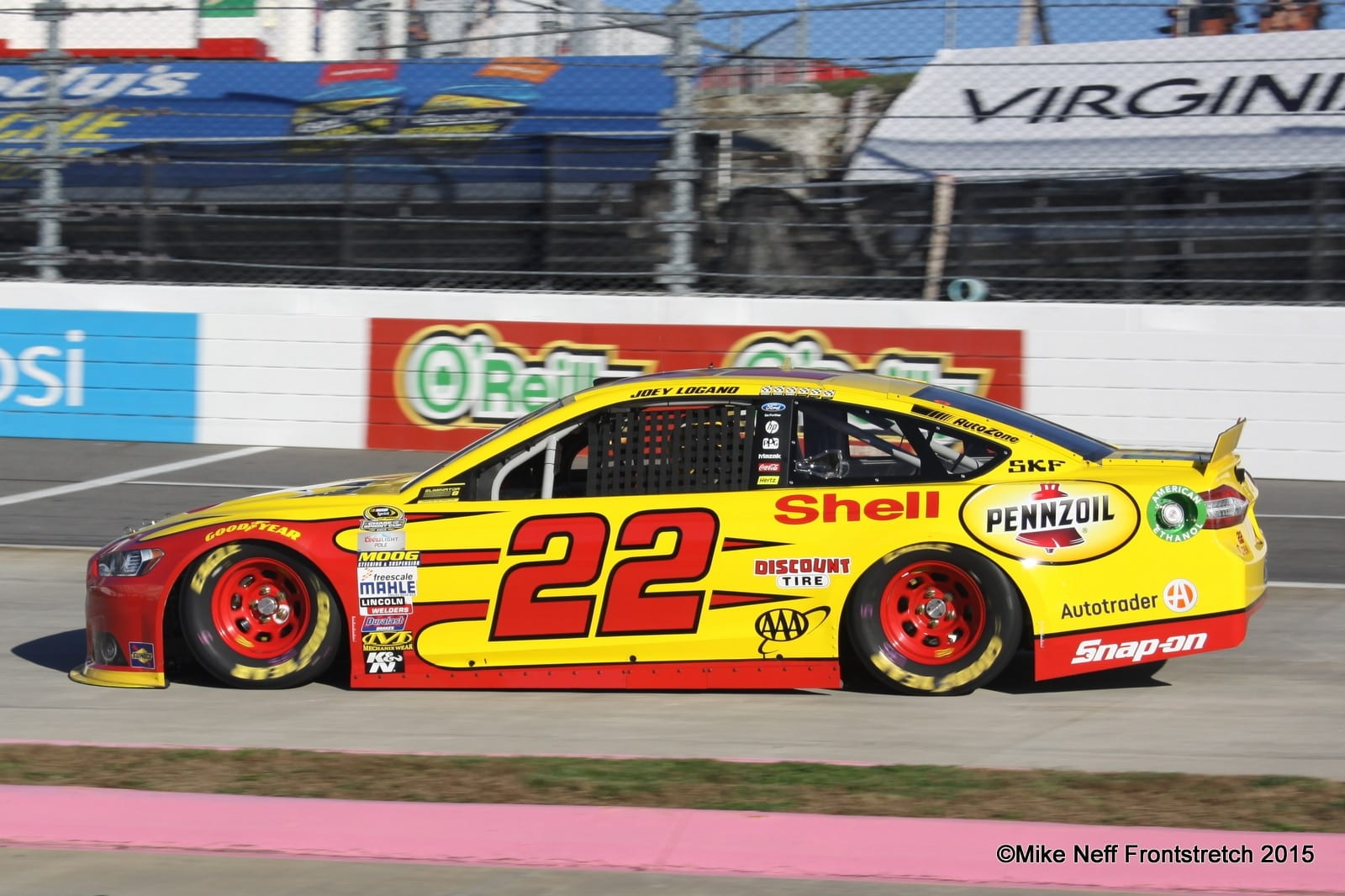 Joey Logano 2015 Martinsville Cup Qualifying Mike Neff