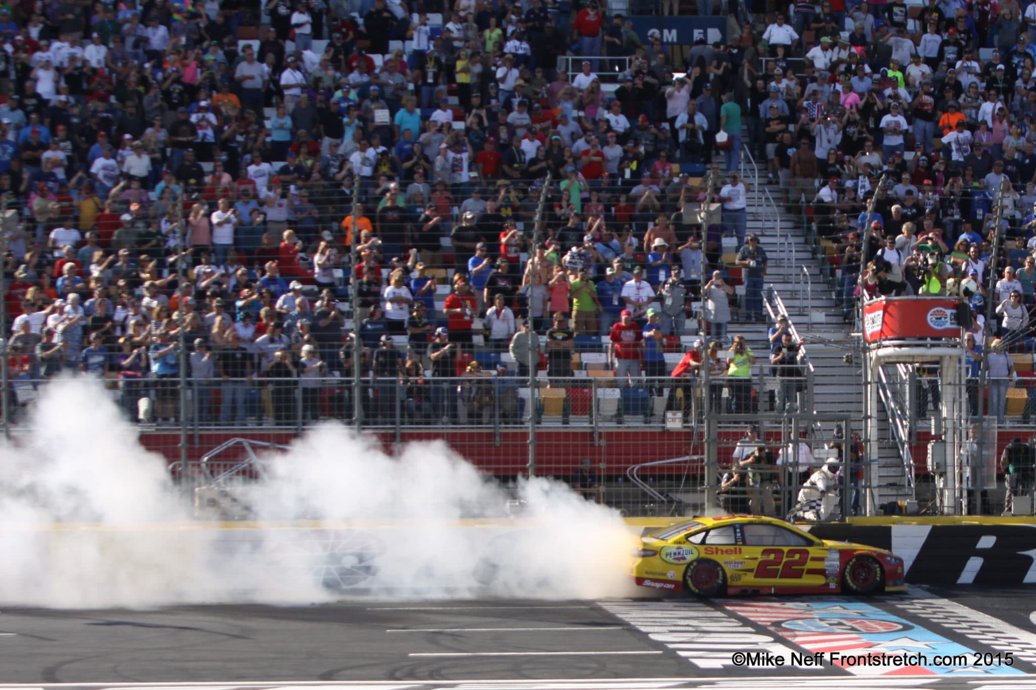Joey Logano Bank of America 500 Burnout Cup Mike Neff
