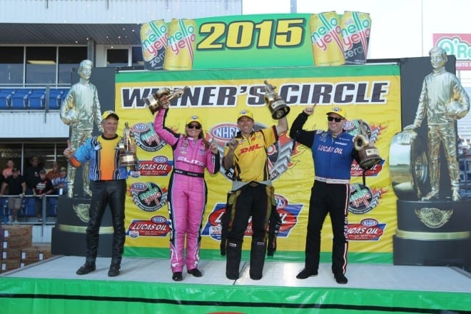 NHRA 2015 Texas winners Jerry Savoie Erica Enders Del Worsham Richie Crampton courtesy NHRA Media