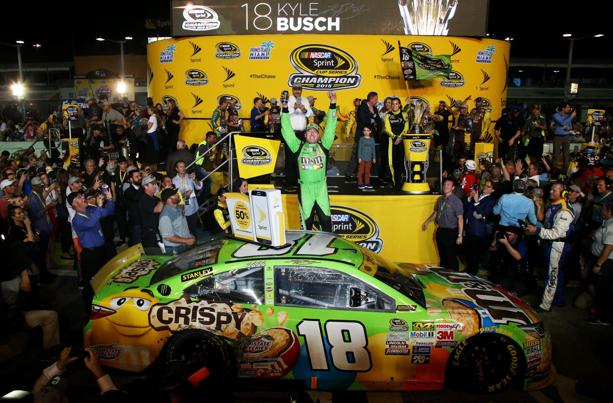 2015 Homestead Miami Speedway NSCS Kyle Busch Victory Lane Championship credit NASCAR via Getty Images