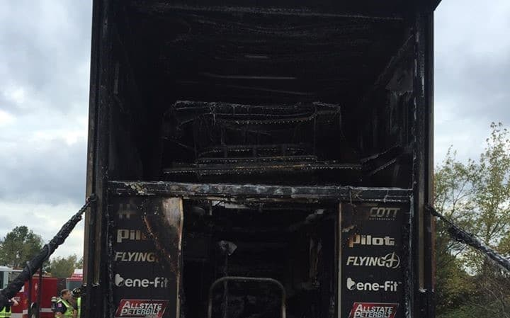 HSCott Motorsports Hauler Fire