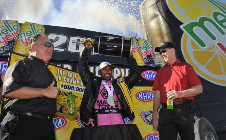 NHRA 2015 Las Vegas Antron Brown celebrates championship photo courtesy NHRA Media