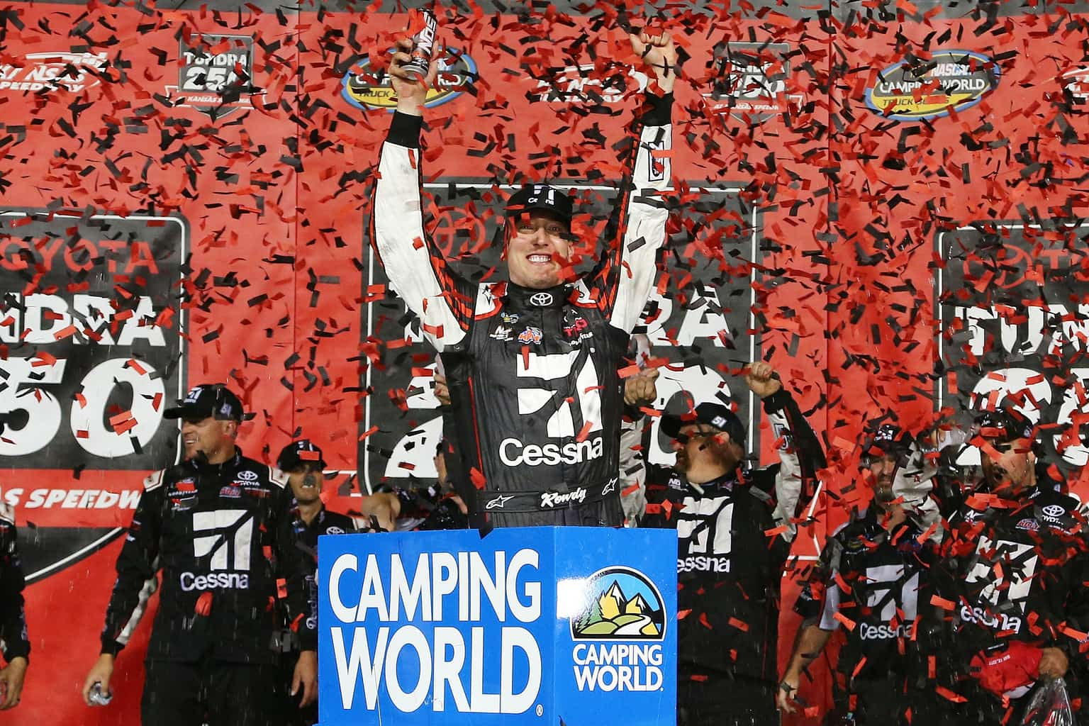 2017 CWTS Kansas Kyle Busch Confetti Victory Lane NASCAR via Getty Images