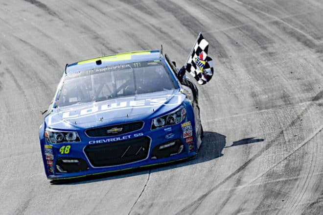 2017 Dover I CUP Jimmie Johnson checkered flag John K Harrelson NKP