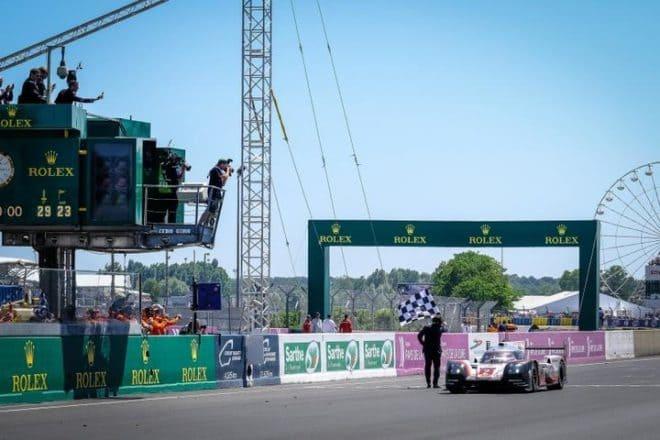 2017 Le Mans WEC Timo Bernhard Checkered Flag Dirk Bogaerts AdrenalMedia