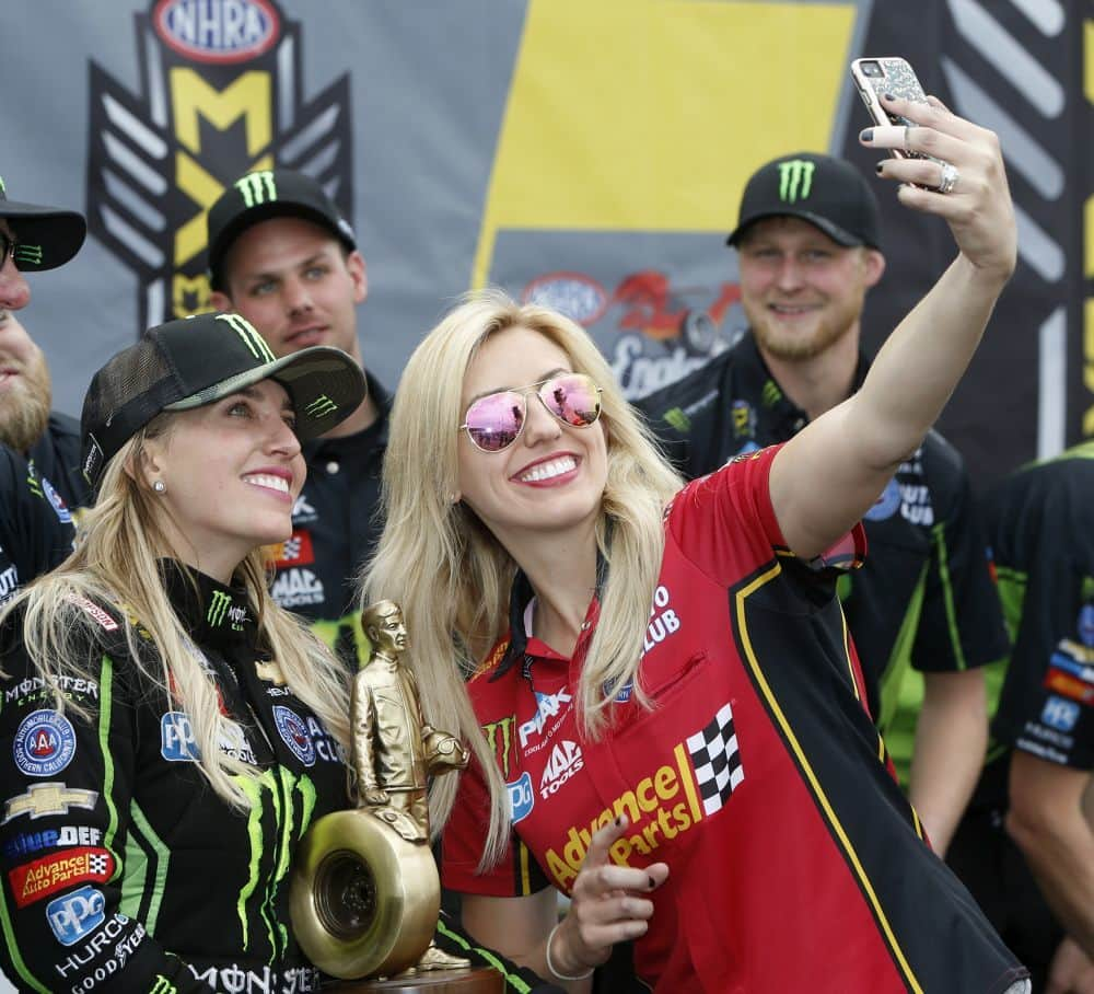 NHRA 2017 Epping Brittany Force and Courtney Force selfie courtesy NHRA