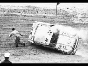 Junior Johnson outrunning flipping car at Daytona Beach