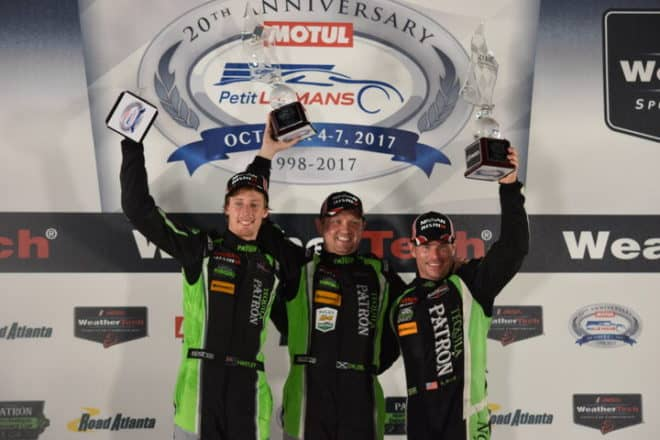 2017 Road Atlanta IWSC Brendon Hartley Ryan Dalziel Scott Sharp Podium Phil Allaway