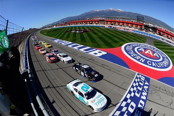 2019 Auto Club Speedway NXS Tyler Reddick Kyle Busch photo credit NASCAR via Getty Images