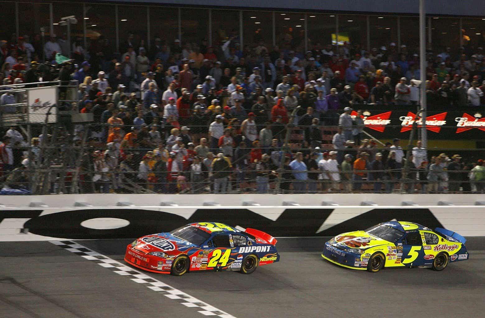 Jeff Gordon and Kyle Busch On Track Duel Daytona 2006