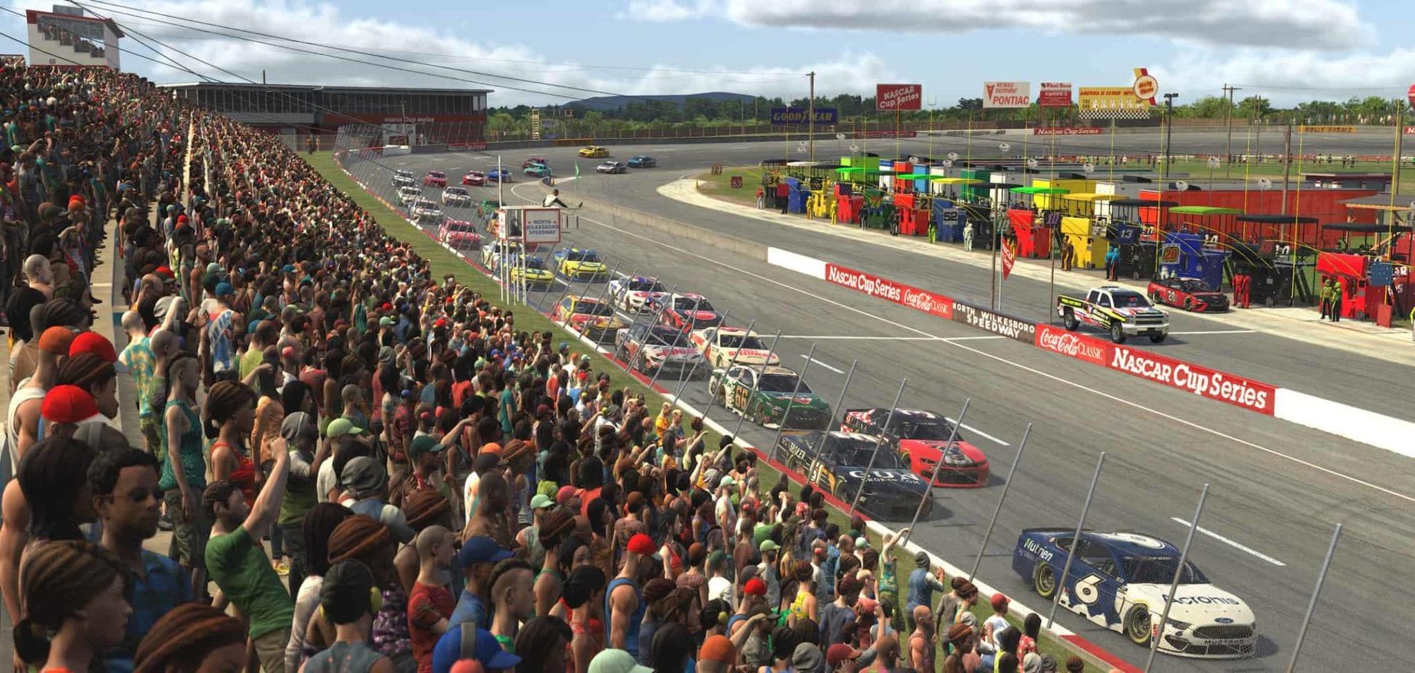 Virtual NASCAR cars race at North Wilkesboro Speedway in 2020. Photo: NASCAR Media