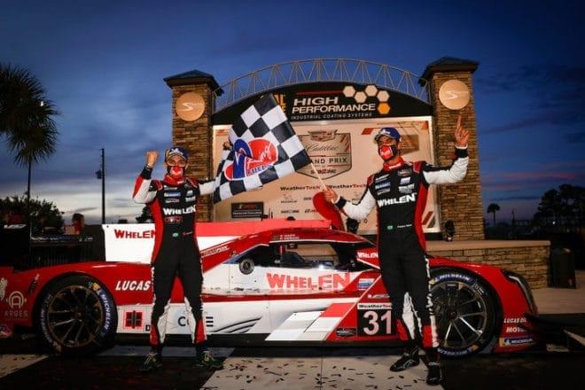 2020 Sebring IWSC Felipe Nasr Pipo Derani Victory Lane Courtesy of IMSA