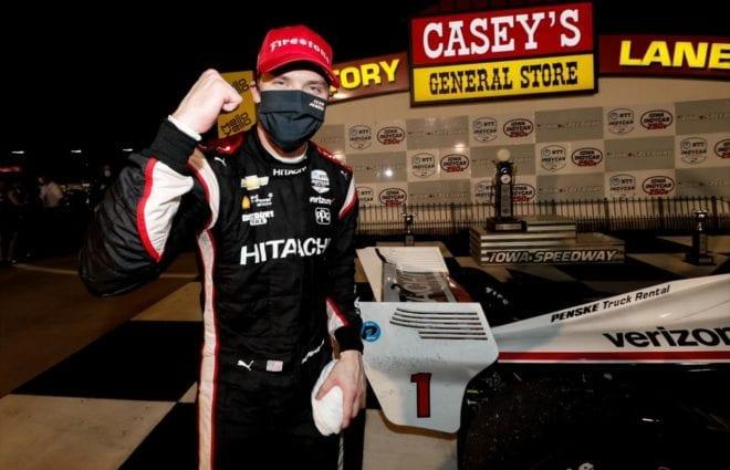 Josef Newgarden celebrates after winning at Iowa Speedway