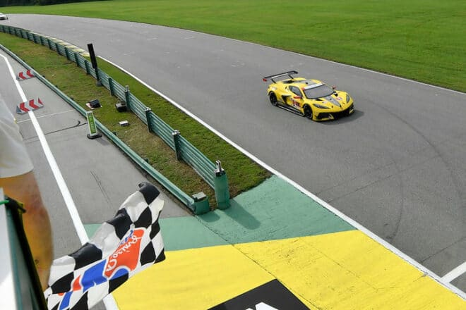 2020 VIR IWSC Antonio Garcia Checkered Flag Courtesy of IMSA