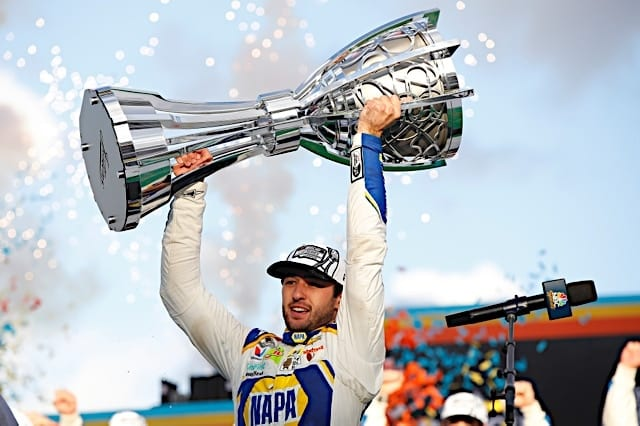 Chase Elliott holds 2020 Bill France trophy Photo: Nigel Kinrade Photography