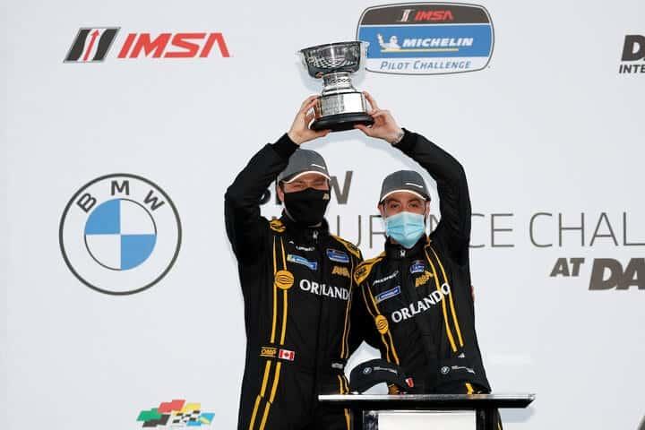 2021 Daytona IMPC Kuno Wittmer Orey Fidani Victory Lane Courtesy of IMSA