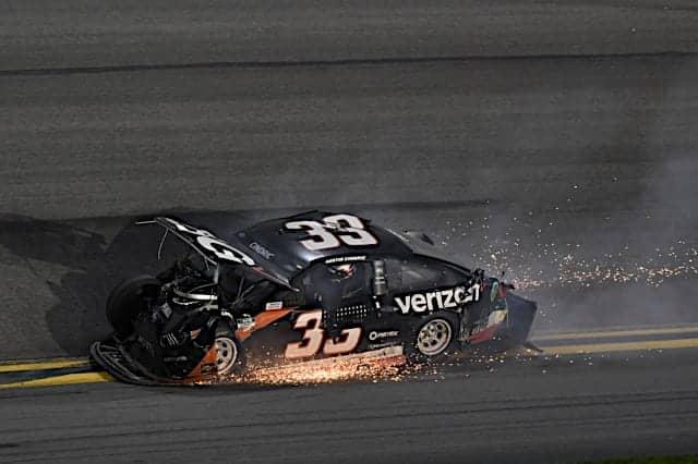 Austin Cindric crashes on the final lap of the 2021 Daytona 500.