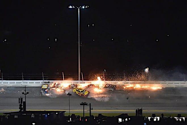 2021 Daytona 500 Last Lap Crash Involving Brad Keselowski, Joey Logano, Kyle Busch, Austin Cindric