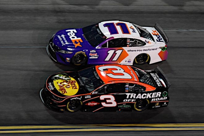 Denny Hamlin and Austin Dillon battle for position in 2021 Daytona 500 Photo: Nigel Kinrade Photography