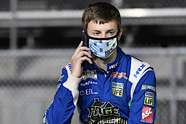Joey Gase on the phone at 2021 Daytona 500 NKP