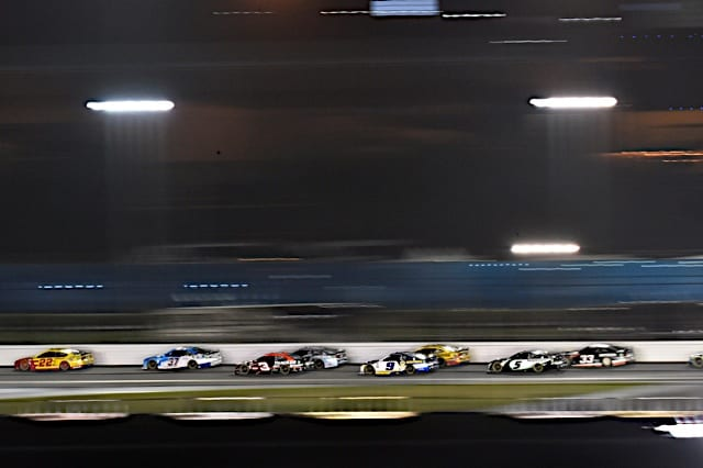 Joey Logano leads over a group of cars including Ryan Preece in Daytona 500 Photo: Nigel Kinrade Photography