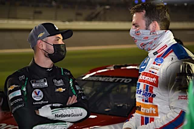 Kyle Larson talks with Matt DiBenedetto 2021 Daytona 500 Photo NKP
