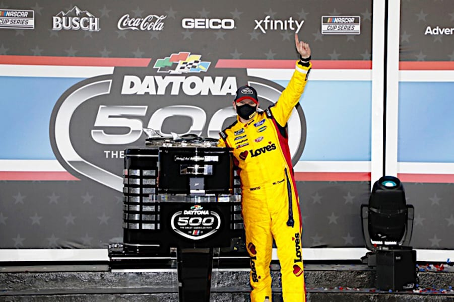 Michael McDowell poses with his Daytona 500 trophy. Photo NKP