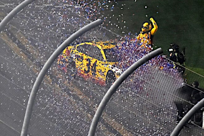 Michael McDowell celebrates his 2021 Daytona 500 win Photo: NKP