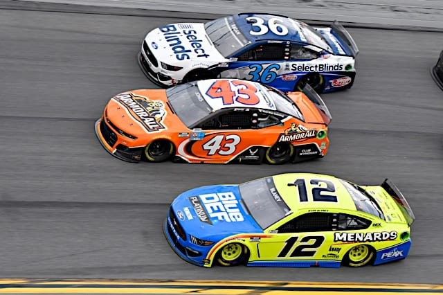 2021 Daytona I Cup Ryan Blaney Erik Jones David Ragan 3 wide NKP