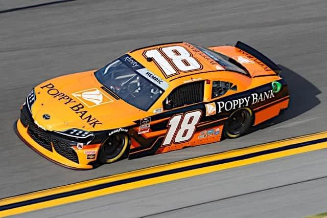 Daniel Hemric No. 18 Joe Gibbs Racing car in 2021 February Daytona Xfinity race Photo NKP
