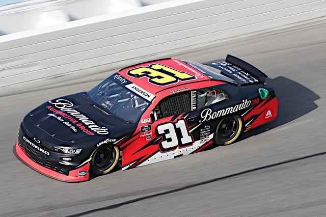 Jordan Anderson practices for the NASCAR Xfinity race at Daytona International Speedway February 2021 Photo: NKP