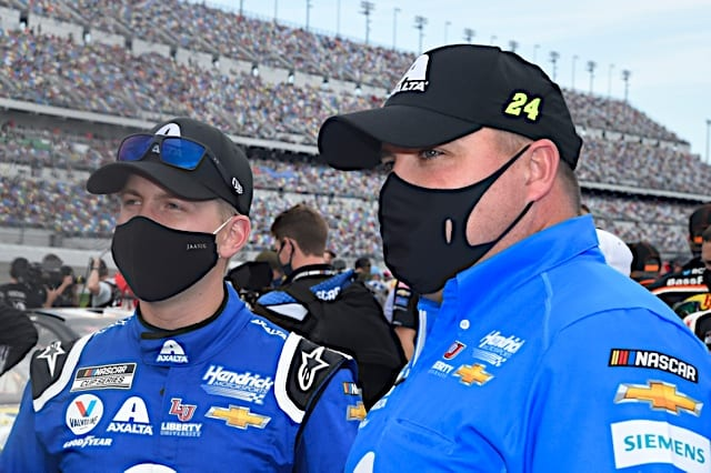 William Byron with crew chief Rudy Fugle before 2021 Daytona Road course Cup event Photo NKP