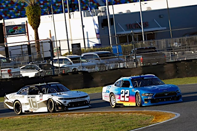 Austin Cindric and AJ Allmendinger racing at the 2021 Daytona road course event, Photo Nigel Kinrade Photography