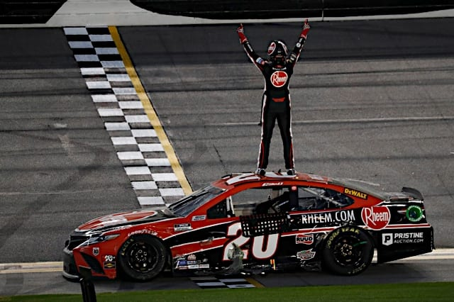 Christopher Bell celebrates after winning the 2021 O'Reilly Auto Parts 253 Photo:NKP