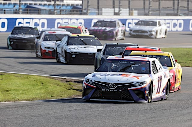 Denny Hamlin leads the pack during the 2021 O'Reilly Auto Parts 253 at Daytona Photo: NKP