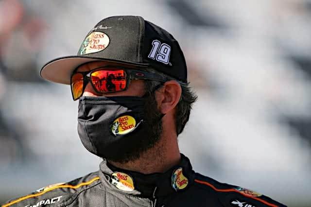 Martin Truex Jr looks on at 2021 Daytona road course Cup race
