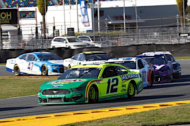Ryan Blaney leads the field in the 2021 O'Reilly Auto Parts 253 at Daytona Photo: NKP