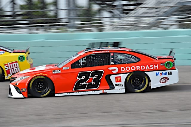 Bubba Wallace races at Homestead 2021 Cup race Photo NKP