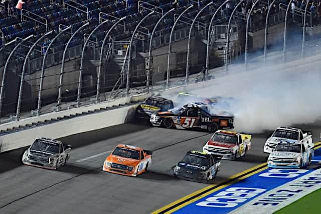 2021 Trucks Daytona finish with wreck - Rhodes/Roper/Anderson. (Credit: NKP)