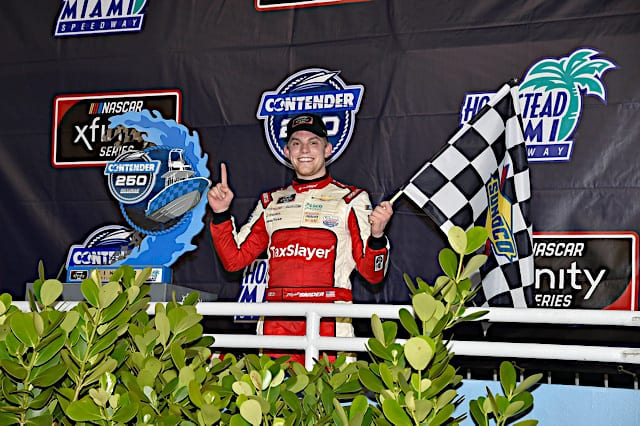 Myatt Snider celebrates winning at Homestead Miami Speedway February 2021 (Credit: NKP)