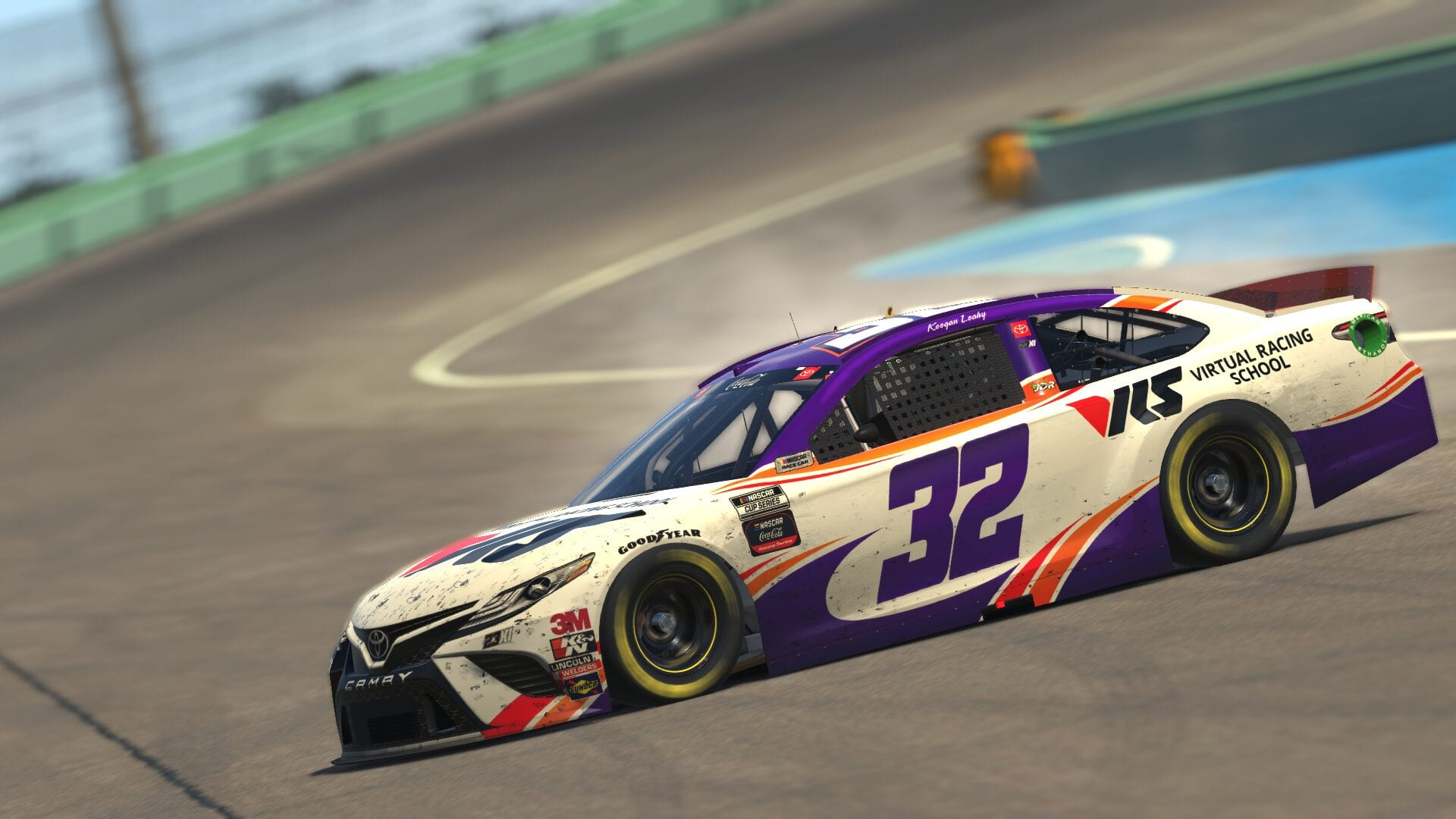 Keegan Leahy Celebrating after winning the Coca-Cola iRacing Series race at Homestead, 2/23/2021