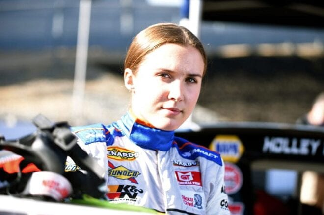 Bridget Burgess prepares for an ARCA race in 2020