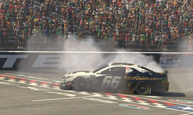 Timmy Hill does a virtual burnout after Texas win on iRacing Pro Invitational Series