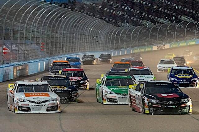 2021 ARCA Phoenix Pack Racing - Corey Heim, No. 20 Venturini Motorsports Toyota and Ty Gibbs, No. 18 Joe Gibbs Racing Toyota (Credit: NKP)