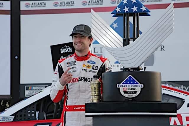 Ryan Blaney celebrates his win in the NASCAR Cup Series at Atlanta Motor Speedway. Photo: NKP