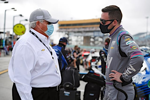 Alex Bowman talks with Rick Hendrick before 2021 NASCAR Cup Race at Homestead Photo NKP