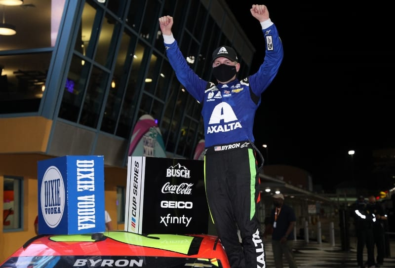 William Byron celebrates in victory lane at Homestead 2021 cup Photo Sean Gardner Getty Images
