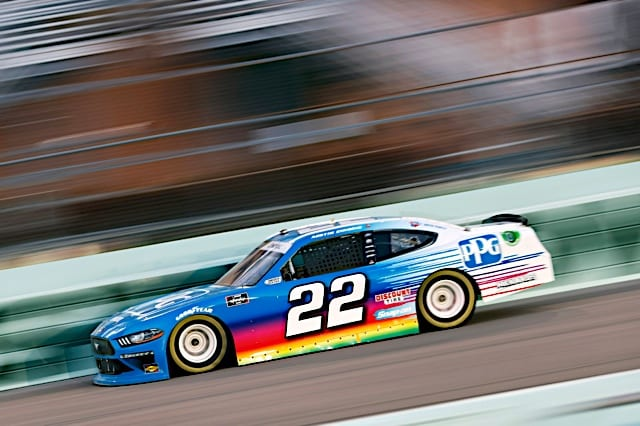 Austin Cindric races in 2021 Homestead Xfinity race with PPG colors Photo NKP