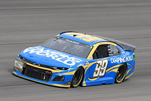 Daniel Suarez races at 2021 spring Las Vegas Cup race with Camping World on the hood Photo NKP