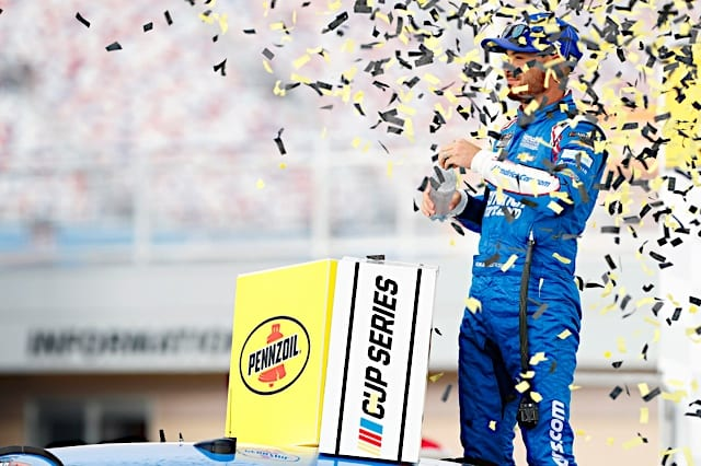 Kyle Larson celebrates his win in the 2021 Pennzoil 400 at Las Vegas Motor Speedway Photo: NKP